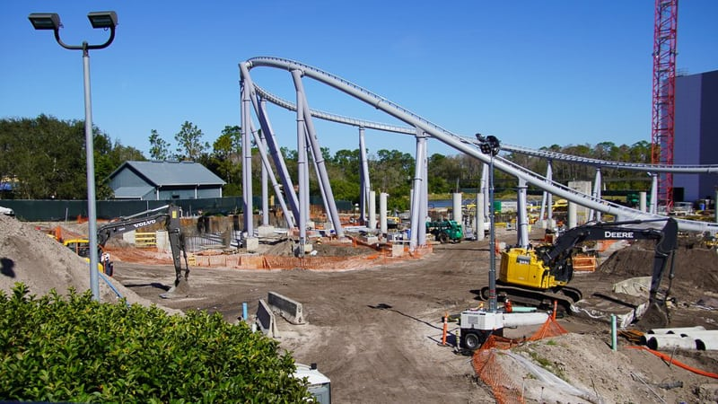Tron Roller Coaster construction update February 2020 outside track loop