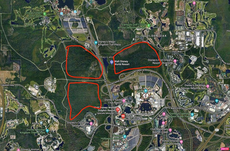 potential Disney World 5th park locations map