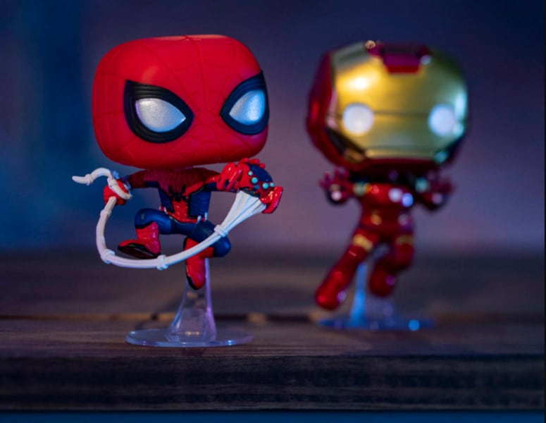 Spider-Man and Iron Man Funko Pop Vinyl figures at Avengers Campus