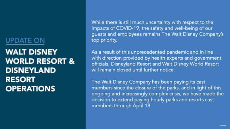 Disneyland closed indefinitely until further notice.