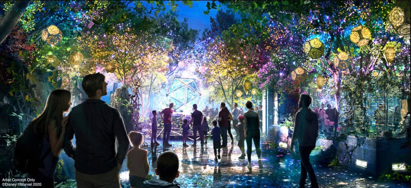 concept art for Doctor Strange sanctum at night with lights in Avengers Campus