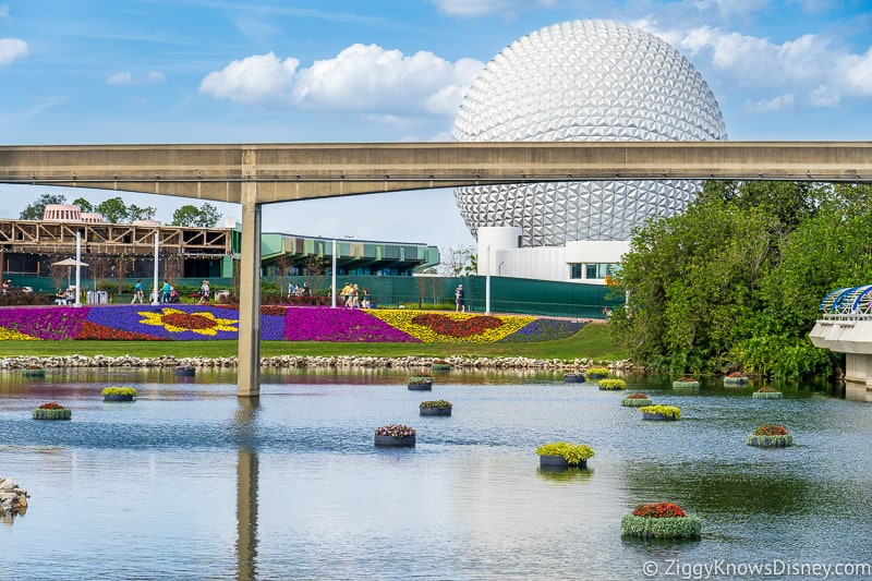 Epcot during Flower and Garden Festival Spaceship Earth