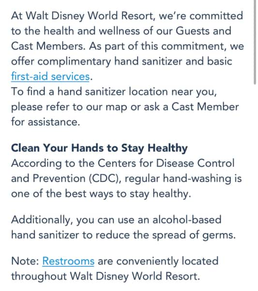 My Disney Experience Hand Sanitizing Info Disney World 6
