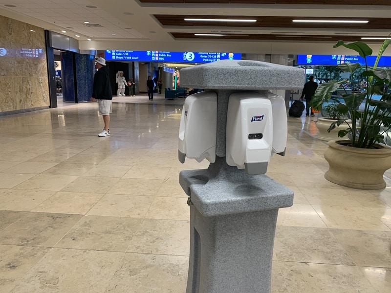 hand sanitizer in Orlando International Airport for coronavirus