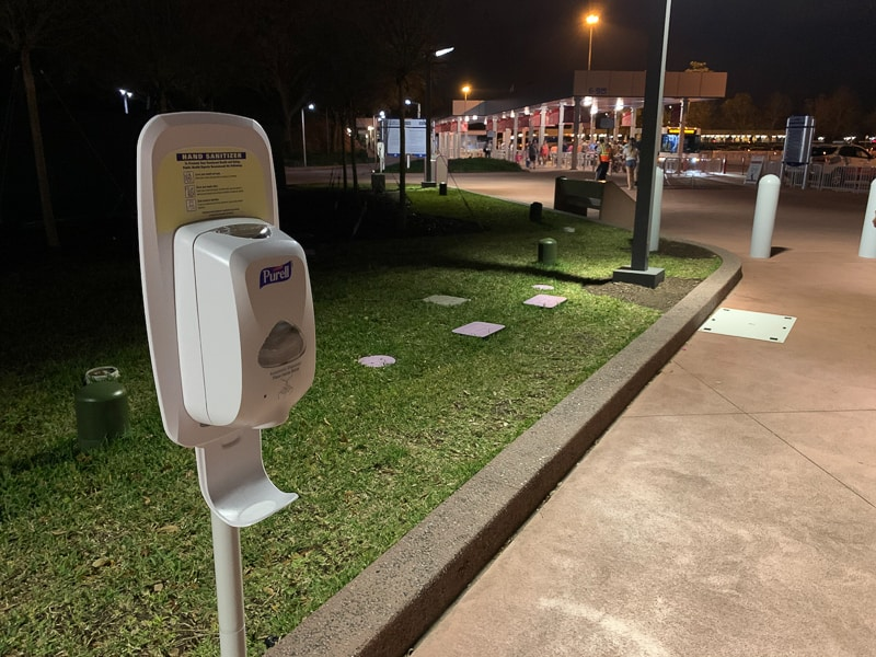 hand sanitizer in Epcot parking lot for coronavirus