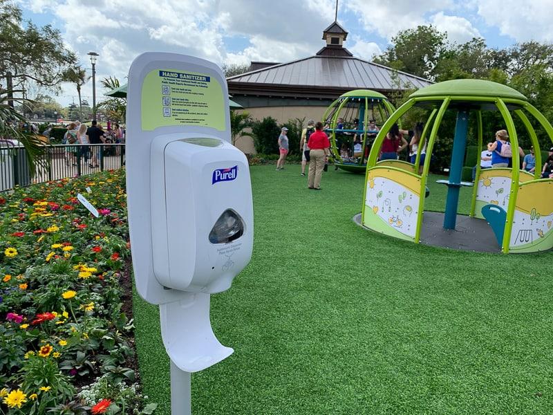 hand sanitizer in Epcot Flower and Garden Festival for coronavirus