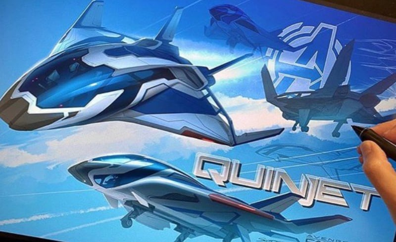 concept art for Quinjet in Avengers Campus