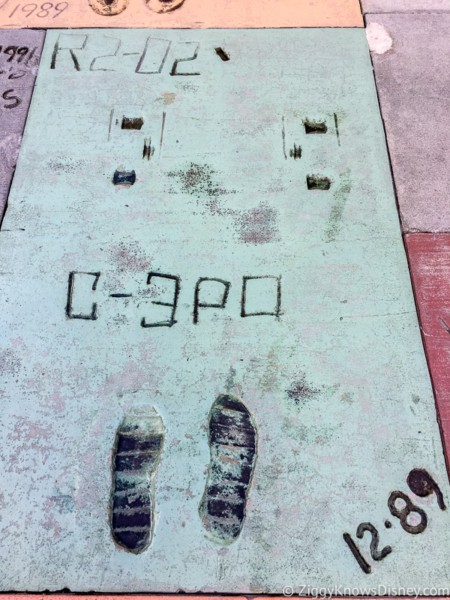 R2D2 and C3PO footprints Chinese Theater