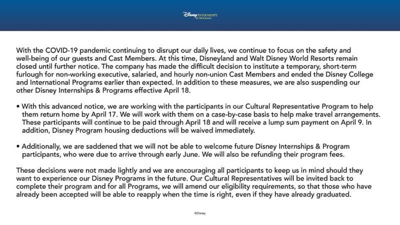 Disney suspends college program and international program