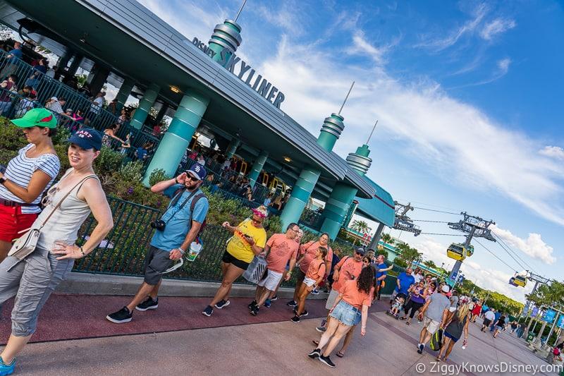 Getting in line for Disney Skyliner Gondola