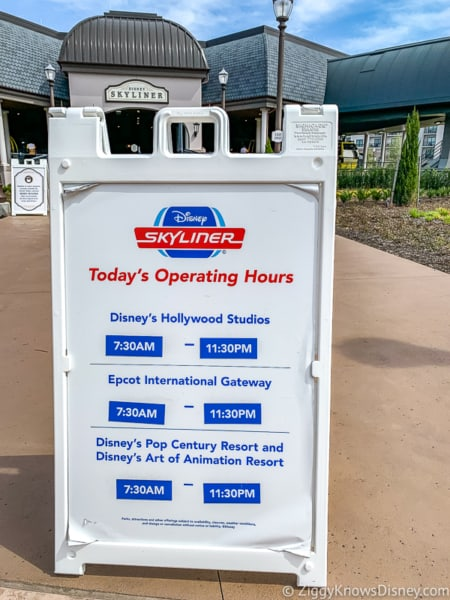 Disney Skyliner Gondola time schedule