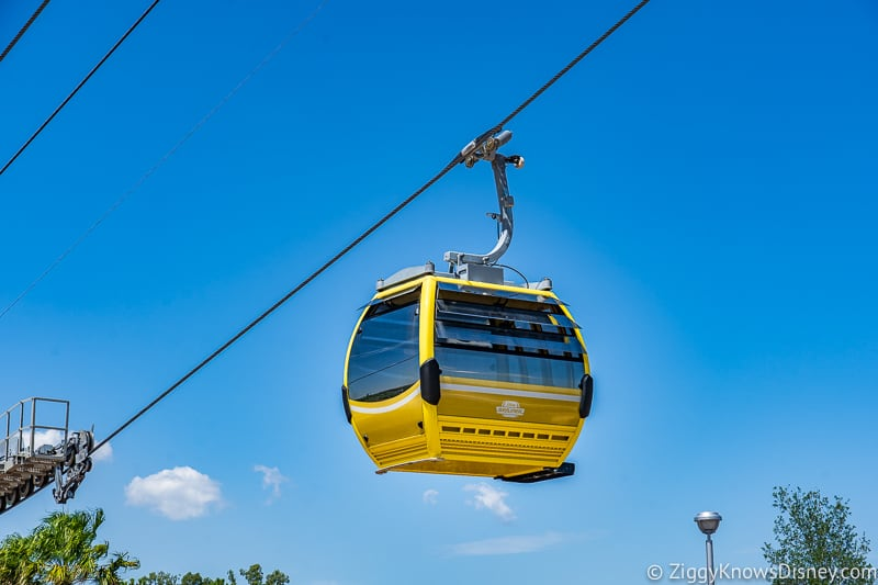 Disney Skyliner Gondola car hanging in air