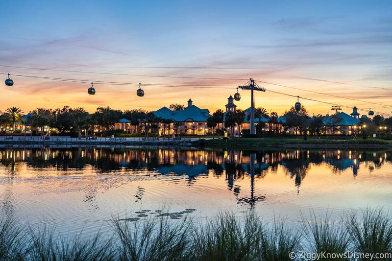 Disney Skyliner over water at Caribbean Beach