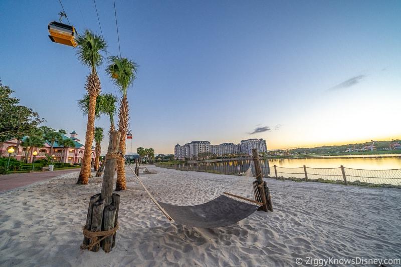 Disney Skyliner Gondolas Caribbean Beach Beach sunset