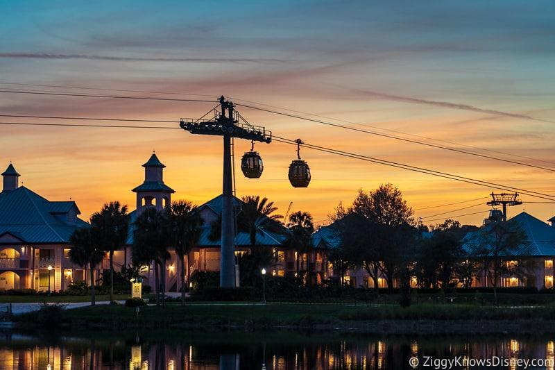 Disney Skyliner Gondola with sunset