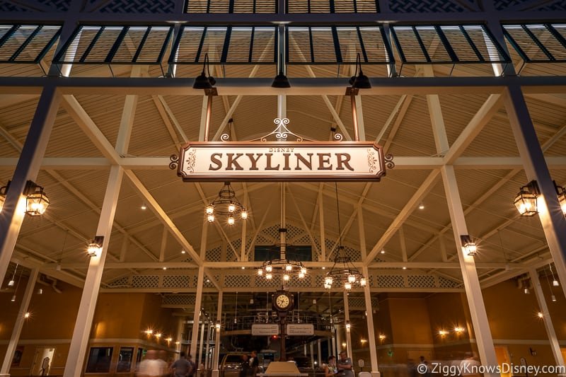 Disney Skyliner Sign at night central station