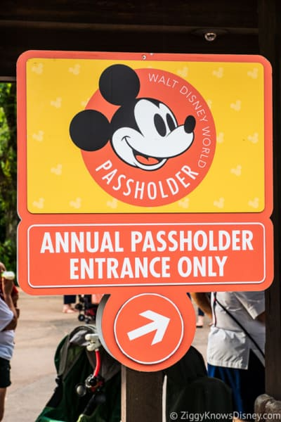 Disney World annual passholder entrance sign