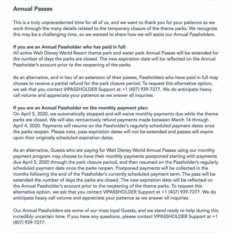 Disney World annual passholder refunds details