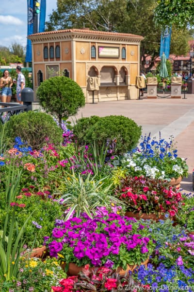 Italy pavilion with flowers Epcot Flower and Garden Festival