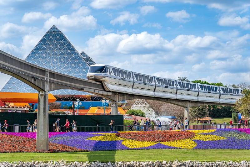 Monorail passing Imagination! pavilion Epcot Flower and Garden Festival