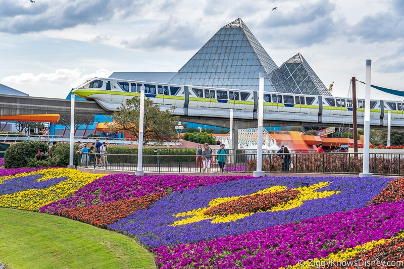 monorail and flower beds at Imagination! pavilion Epcot Flower and Garden Festival
