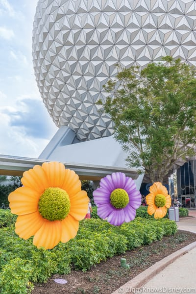 Flower Topiaries in front of Spaceship Earth Epcot Flower and Garden Festival