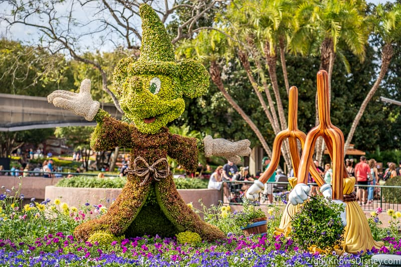 Mickey Mouse Topiary with brooms Epcot Flower and Garden Festival