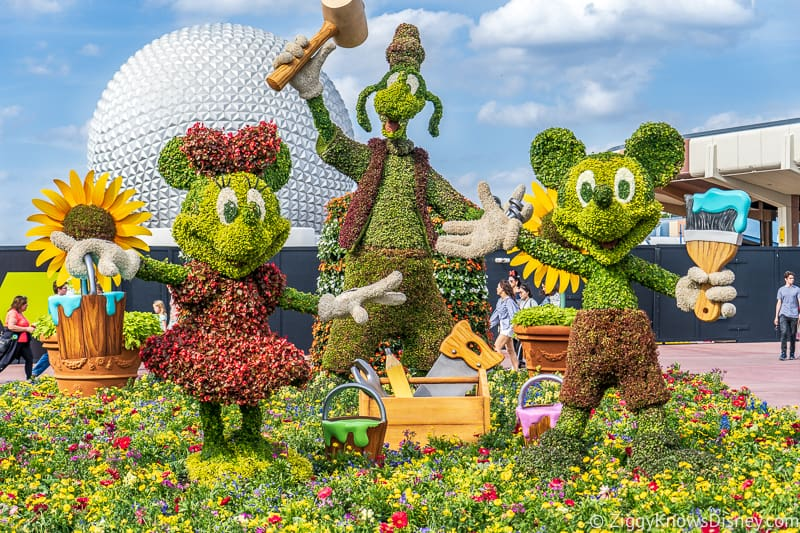 Mickey and Minnie and Goofy Topiary Epcot Flower and Garden Festival