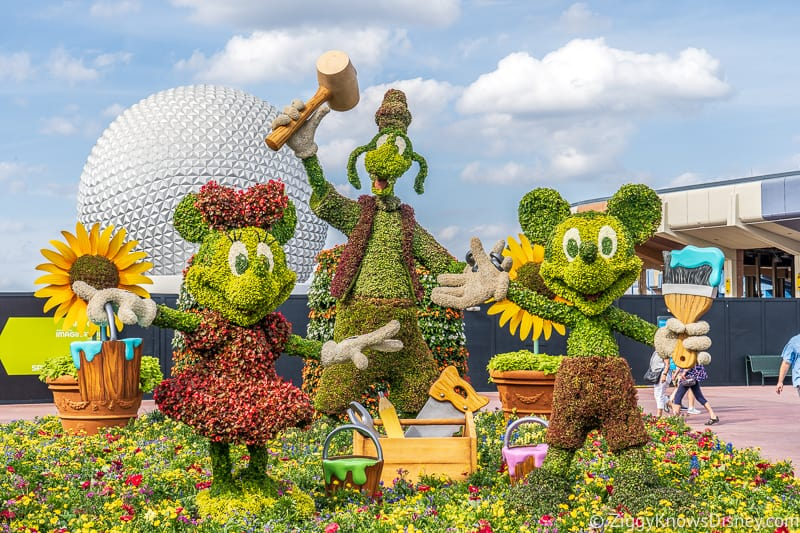 Mickey Minnie and Goofy Topiaries Epcot Flower and Garden Festival