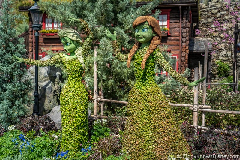 Anna and Elsa Topiaries Epcot Flower and Garden Festival