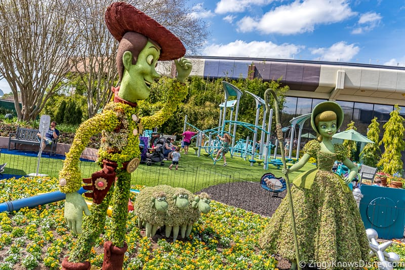 Woody and Bo Peep Topiaries Epcot Flower and Garden Festival
