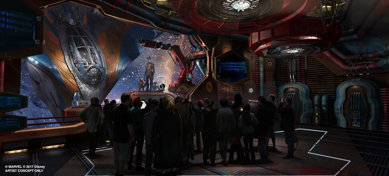Guardians of the Galaxy: Cosmic Rewind concept art with Groot and Rocket