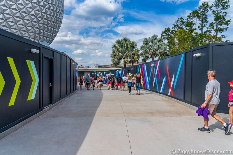 walking to Spaceship Earth in Epcot through construction