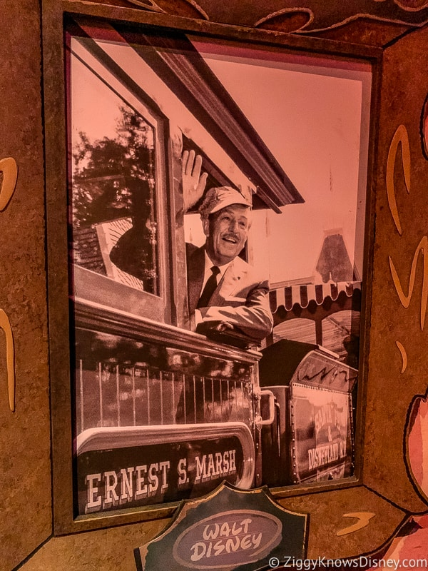 Walt Disney on a train in Mickey and Minnie's Runaway Railway ride