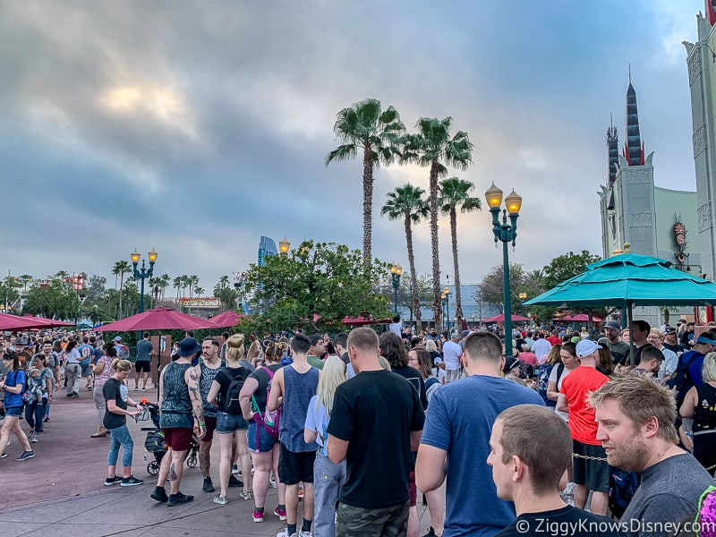 Mickey and Minnie's Runaway Railway ride queue outside