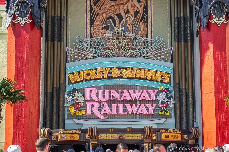 Mickey and Minnie's Runaway Railway neon sign