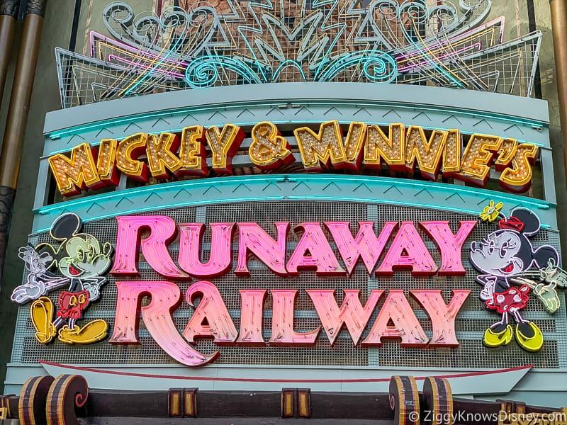 Mickey and Minnie's Runaway Railway sign