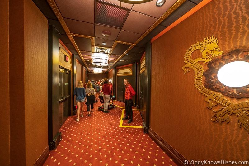 waiting in the hallway of Mickey and Minnie's Runaway Railway
