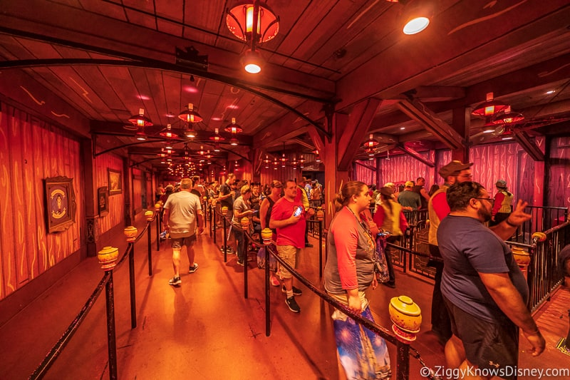 Mickey and Minnie's Runaway Railway guests in line