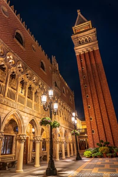 Italy pavilion EPCOT World Showcase at night