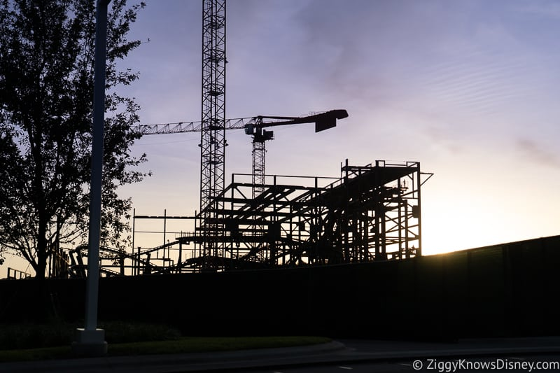 sun setting over construction site TRON coaster