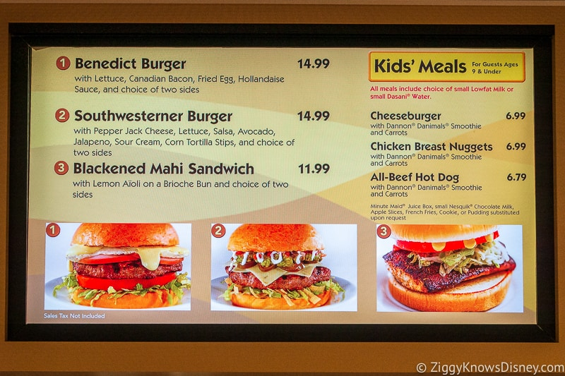 Menu with burgers at quick service restaurant