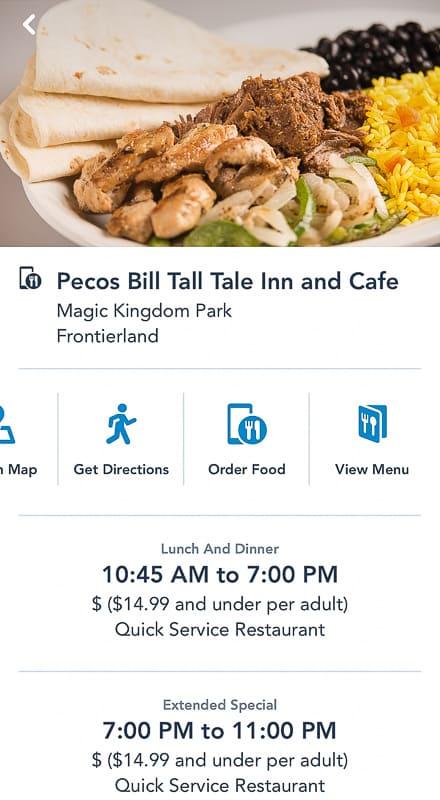 Disney Mobile Order Pecos Bill Tall Tale Inn screen
