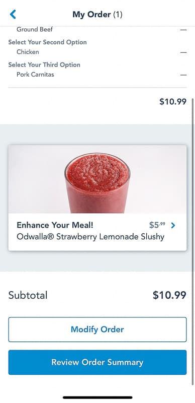 Disney Mobile Order Strawberry Slushy Screenshot