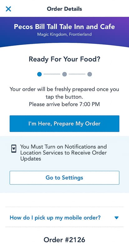 Disney Mobile Order Details Screenshot