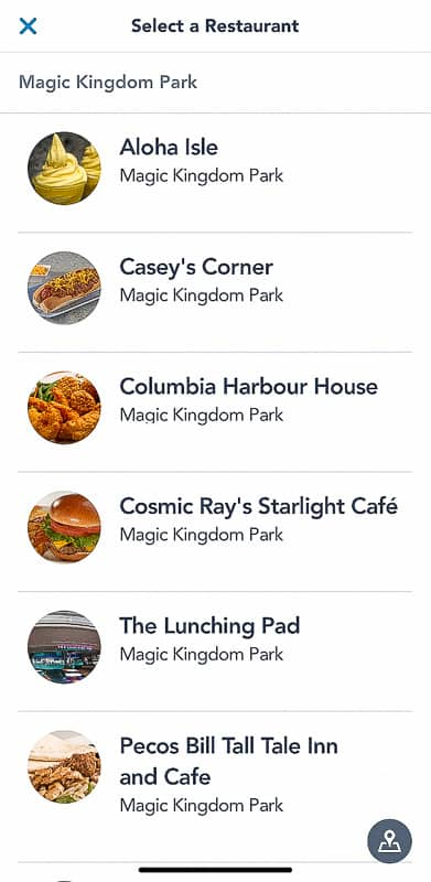 Restaurant list in Disney Mobile Order