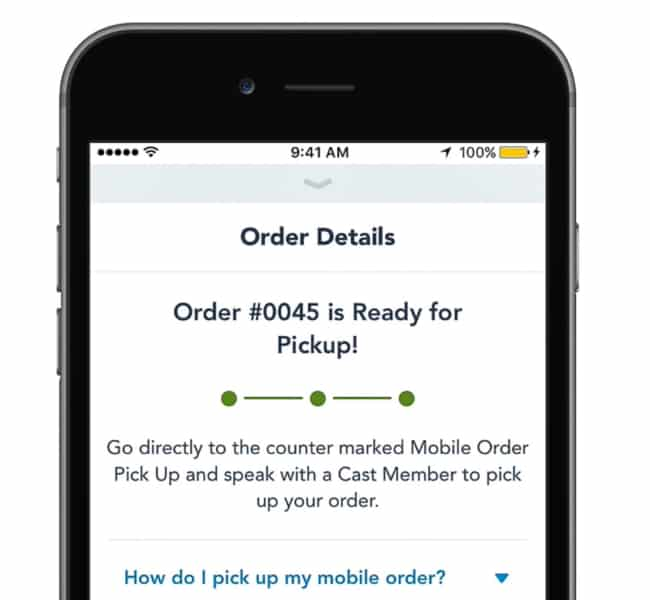 Disney Mobile Order ready for pick-up