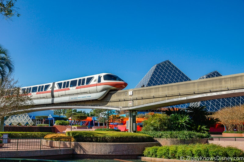 Monorail passing by in Epcot Journey Into Imagination