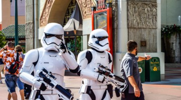 storm troopers wearing masks in Disney World