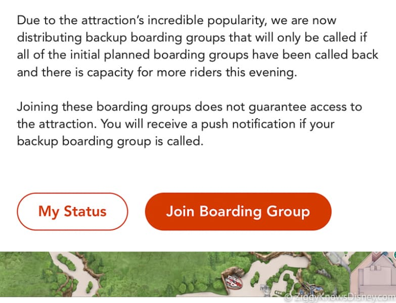 Join boarding group button Disney Virtual Queue